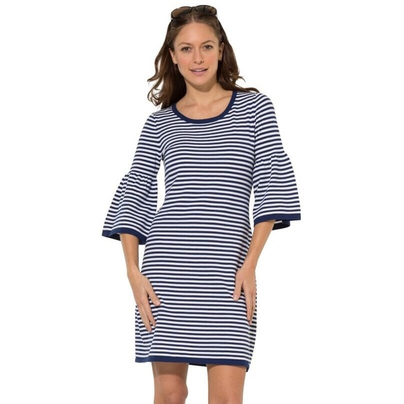 88128facbf6 Sail to Sable Bell Sleeve Sweater Dress Navy White